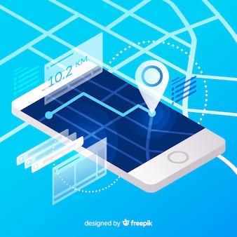 Изометрические работает мобильное приложение инфографики