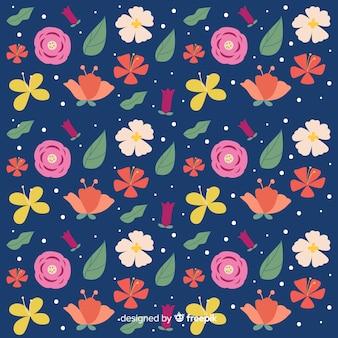 Естественный фон с плоскими цветами