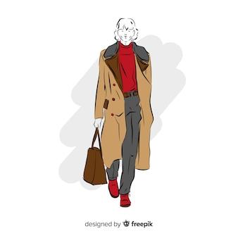 男性モデルのファッションイラスト