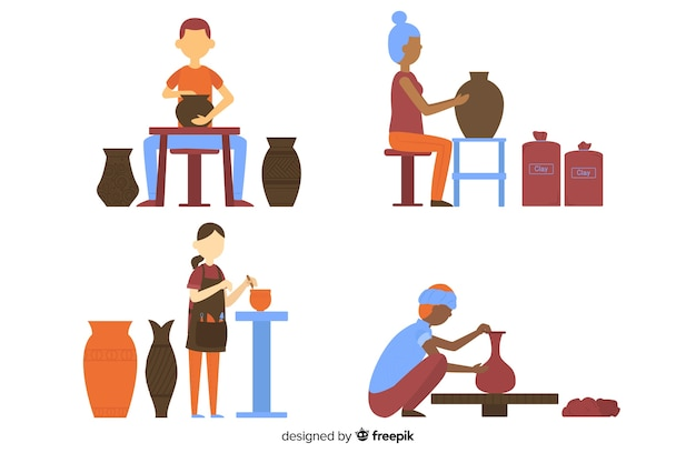 陶器のフラットデザインを作る人々のセット