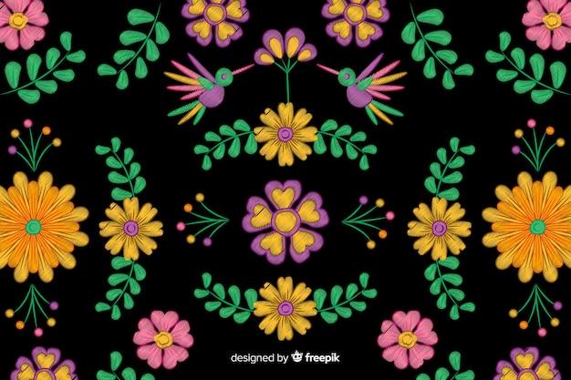 Красочная вышивка мексиканский цветочный фон