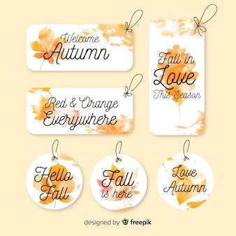 Осенняя коллекция значков в акварельном стиле