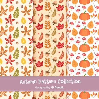 平らな秋のパターンのコレクション