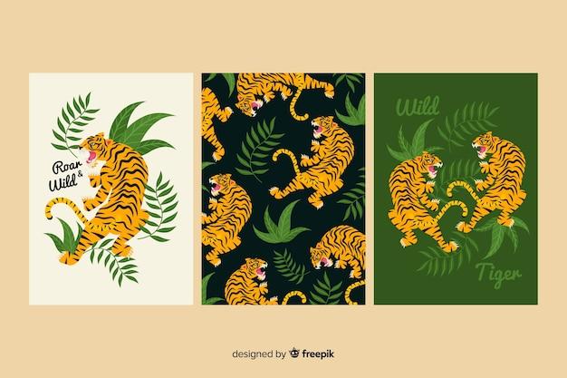 Коллекция рисованной карты тигра
