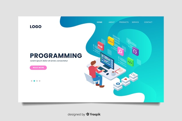 Шаблон целевой страницы изометрического программирования