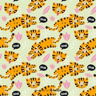 Узор из рисованной тигров