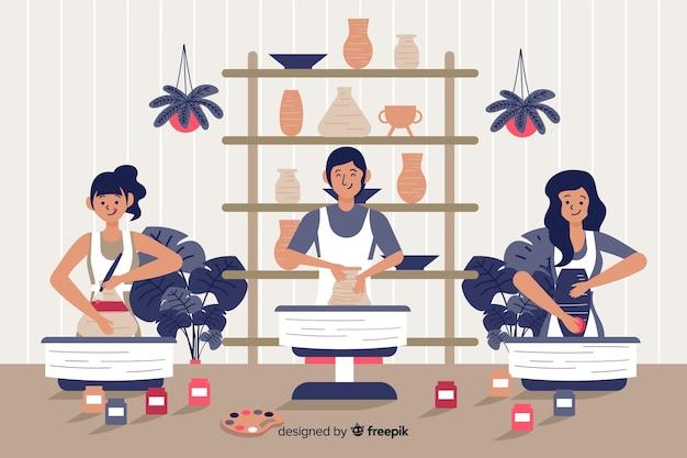陶器のフラットデザインを作る人々