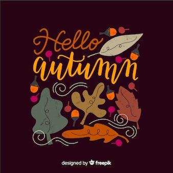 Рисованной привет осень фон надписи