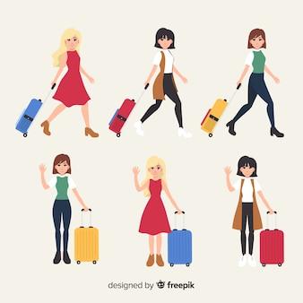 Коллекция путешественниц девушки плоский стиль