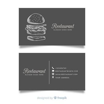 リアルな手描きのレストラン名刺テンプレート