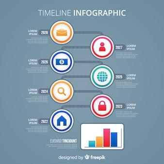 カラフルなクリエイティブタイムラインインフォグラフィックテンプレート