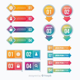 カラフルなグラデーションスタイルのインフォグラフィックテンプレート