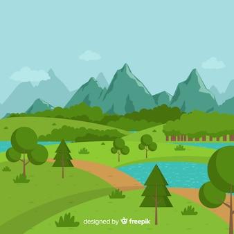 フラットデザインの自然の風景の背景