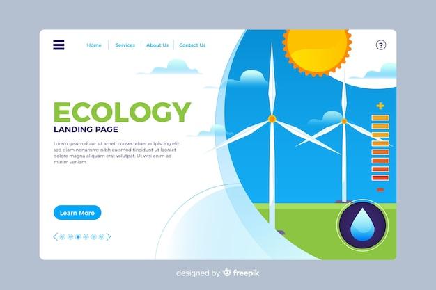 Экология целевой страницы плоский стиль