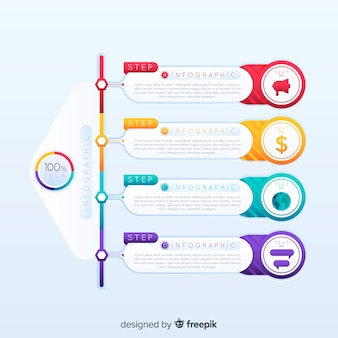 カラフルなインフォグラフィックステップデザインテンプレート
