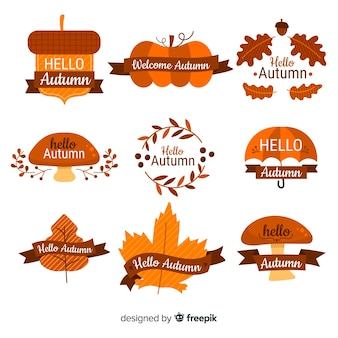 フラットデザインの秋のバッジコレクション