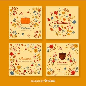 Коллекция плоских осенних открыток