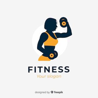 フラットデザインフィットネスのロゴのテンプレート