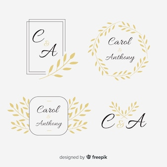 結婚式のモノグラムロゴテンプレートコレクション