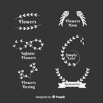 Коллекция шаблонов логотипов свадебный флорист
