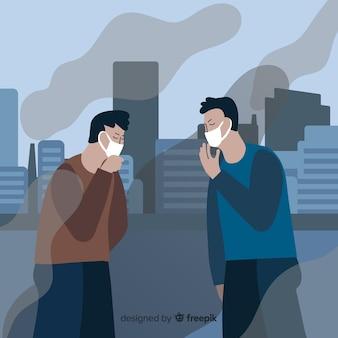 汚染のために咳をする人々
