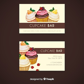 水彩カップケーキ名刺テンプレート