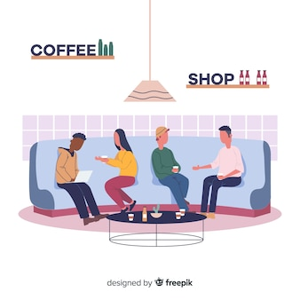 カフェに座っている人