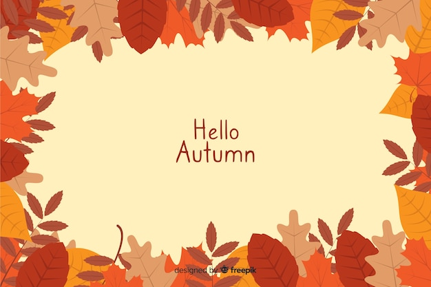 秋のフラットデザインの自然な背景