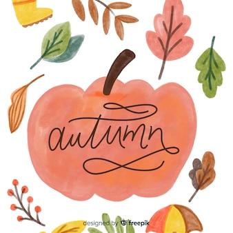 秋の水彩画の自然な背景