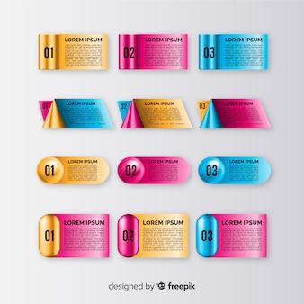 リアルな光沢のあるプラスチック製のインフォグラフィック要素