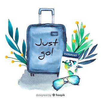 Акварель путешествия фон с мотивационной цитатой