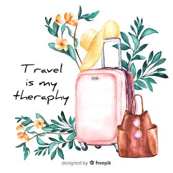 やる気を起こさせる引用と水彩旅行の背景