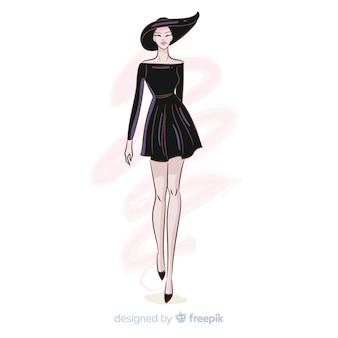 手描きファッション女性イラスト