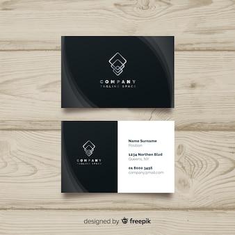 Черный элегантный шаблон визитной карточки