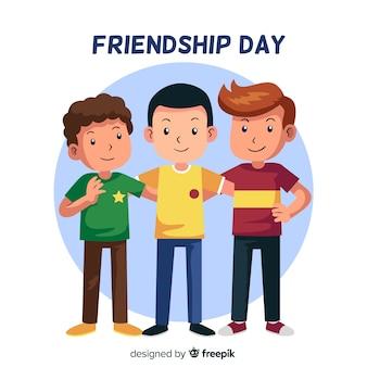 友情日背景フラットスタイル