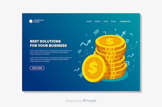 ビジネスランディングページテンプレートフラットデザイン