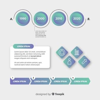 グラデーションインフォグラフィックテンプレートフラットスタイル