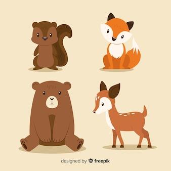 Плоская коллекция осенних лесных животных
