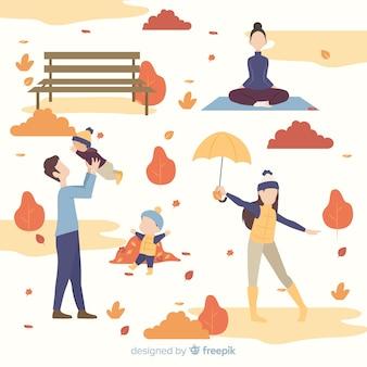 秋の公園の人々