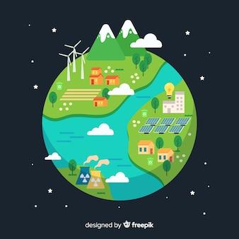 エコロジーコンセプトの背景フラットスタイル