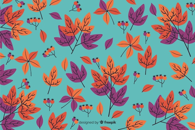 手描きの秋の背景と葉