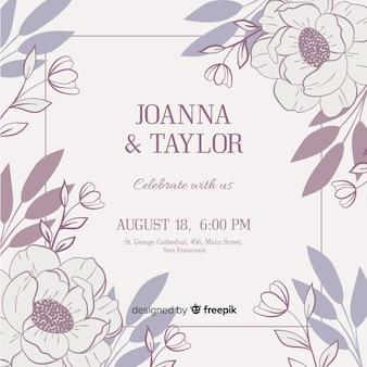 Шаблон свадебного приглашения с цветами