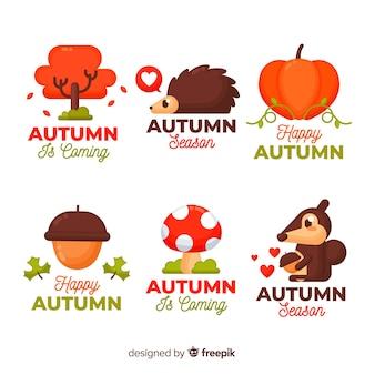 秋の要素コレクションフラットスタイル