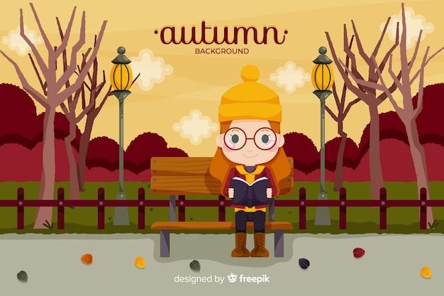 秋の女の子背景フラットスタイル