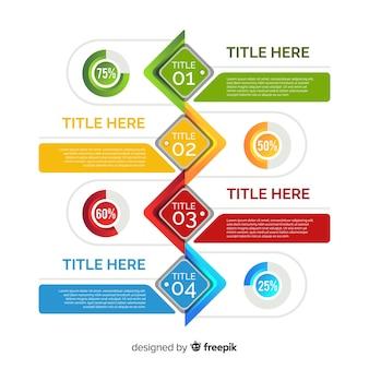 インフォグラフィックステップのカラフルなテンプレート