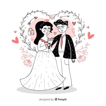 手描きの結婚式のカップルの背景