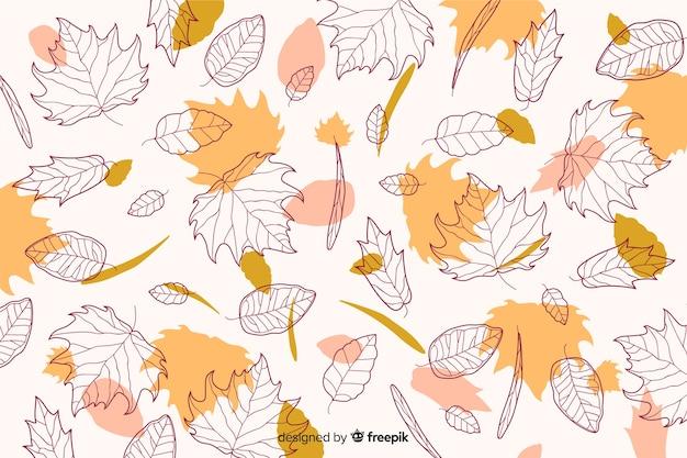 秋の背景に手描きスタイル