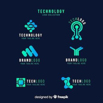 グラデーションテクノロジーブルーロゴコレクション
