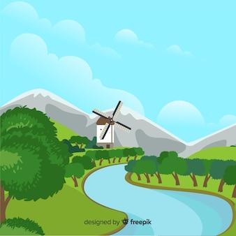 自然の風景の背景フラットデザイン