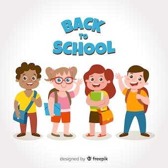 漫画の子供たちが学校に戻る